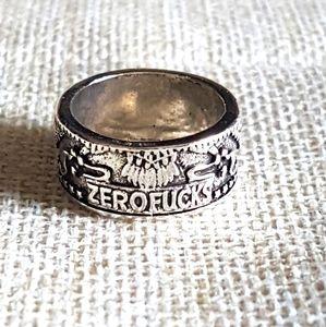 Zero fucks given ring, 925, size 6